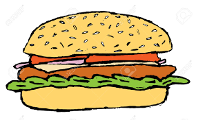 sketch of the hamburger with tomato onion cheese and lettuce