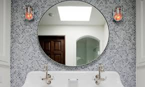 copper bathroom mirrors round bathroom mirrors with lights copper penny tiles bathroom gray