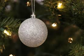 free stock photo of silver ornament on tree