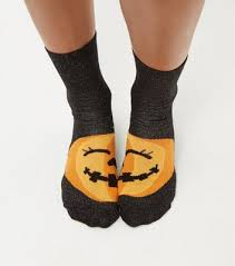 black halloween pumpkin print socks new look