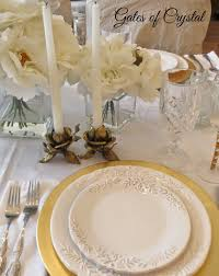 Table Setting by Gates Of Crystal White And Gold Table Setting