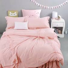 Girls King Size Bedding by Sweet Pink Ruffle Duvet Cover Set 100 Cotton Solid Color Quilt