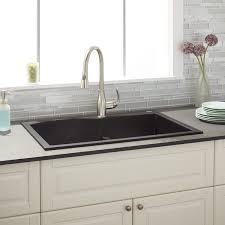 black granite composite sink 33 walland 60 40 double bowl drop in granite composite sink black