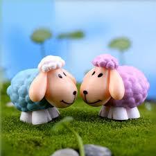 Goat Home Decor 2pcs Set Mini Artificial Sheet Dolls Diy Goat Toys Garden Plant