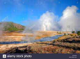 view of midway geyser basin yellowstone national park wyoming