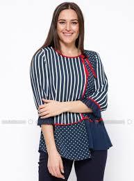 plus size blouse polka dot navy blue white crew neck plus size blouse kifayet
