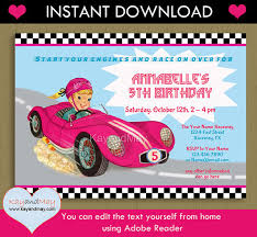 race car invitation instant download car racing theme