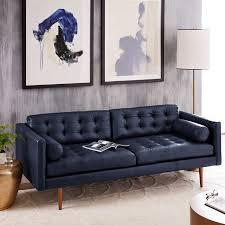 Black Modern Leather Sofa Mid Century Leather Sofa 80 West Elm