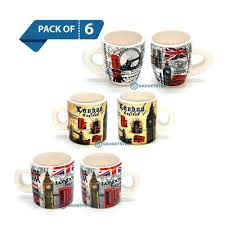 Design Mugs by 6 X Espresso Cups Mugs London England Famous Landmarks Design