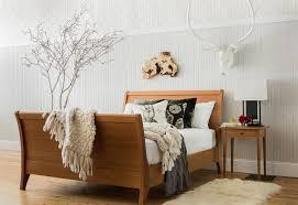 furniture gallery half crown design riverside sleigh bed in cherry queen size and shaker nightstand in cherry
