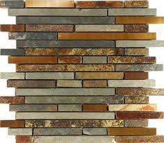 Slate Tiles Kitchen - colorful and rich slate tile with copper accent colors by