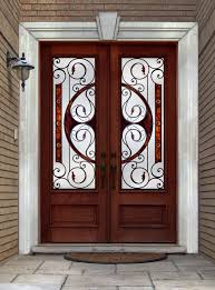metal front doors with glass iron entry doors double wood door with wrought iron inserts