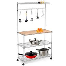 Bakers Rack Console Amazon Com Yaheetech 4 Tier Adjustable Stainless Steel Kitchen
