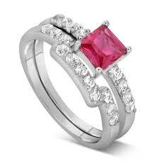 pink wedding rings 2 carat pink sapphire and wedding ring set in white gold