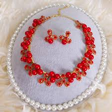 rhinestone necklace sets images Buy wholesale simple wedding jewelry sets red pearl flower crystal jpg
