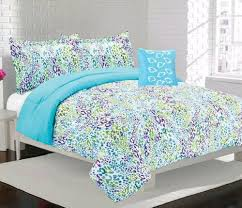 amazon black friday comforter amazon com girls teen bright blue purple and green leopard