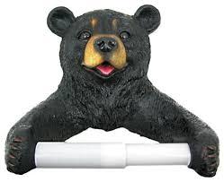 cute black bear cub toilet paper roll holder nature rustic