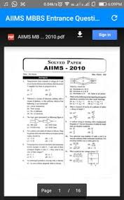 paper pattern of aiims aiims mbbs entrance previous year question papers apk download