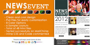 news event newsletter html and psd files by chragency themeforest