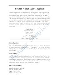 Resume Job Summary by Resume Beauty Advisor Resume