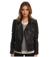 leather moto jacket vince camuto leather moto jacket with quilted patches in black lyst