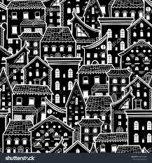 dark seamless pattern houses doodle house stock vector 444723484