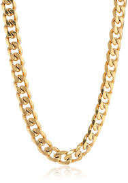 chain necklace images Men 39 s gold tone stainless steel flat curb chain necklace 22 jpg