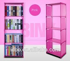 simple modern creative design pink plastic fabric bookshelf buy