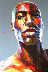 picture of francoise nielly painting of a young black man s face there are vibrant colorful