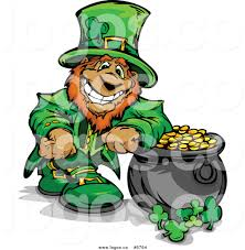 royalty free vector of a logo of a leprechaun leaning on a pot of