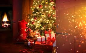the room with the christmas tree and lots of presents