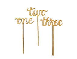cake topper numbers calligraphy script wood table numbers or cake toppers numbers