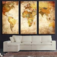 3 panel vintage world map canvas painting oil painting print on