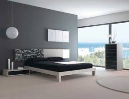 grey bedroom furniture combination with blue background wall color