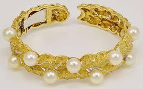 white gold leaf bracelet images Buccellati gorgeous pearl hand engraved gold leaf cuff bracelet at jpeg