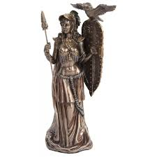 statue with athena standing with shield bronze statue goddess altar statue