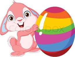 east egg cute pink bunny holding easter egg stock vector colourbox