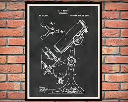 patent 1886 microscope art print poster medical doctors