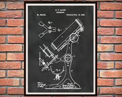 patent 1886 microscope art print poster medical doctors