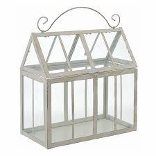 12 in lx6 5 in w x 13 in h cream metal glass terrarium w