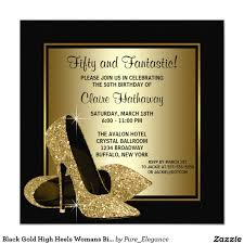 Black Invitation Card Black Gold High Heels Womans Birthday Party 5 25x5 25 Square Paper