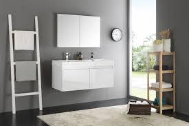 mezzo 48 inch white wall mounted double sink bathroom vanity