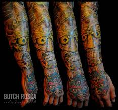 traditional colorful tibetan skull tattoo design for sleeve