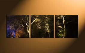 Black Forest Home Decor 3 Piece Scenery Trees Black Multi Panel Canvas