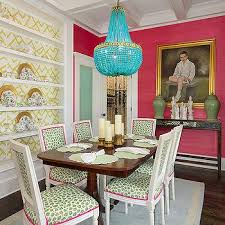 Beaded Turquoise Chandelier Green Dining Chairs Contemporary Dining Room Colordrunk Design