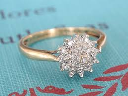 vintage flower rings images Diamond cluster engagement ring vintage flower wedding band 9k jpg