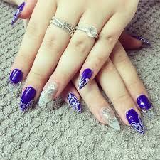 navy blue polish with light blue glitter fade nail art im navy