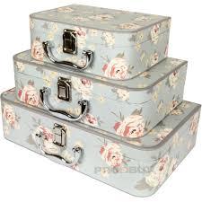 set of 3 card jennifer rose floral shabby chic storage boxes