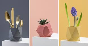 geometric home decor these colorful concrete planters and vases add a geometric touch to