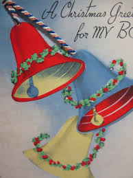 art deco 1940 u0027s die cut rust craft christmas card to son with